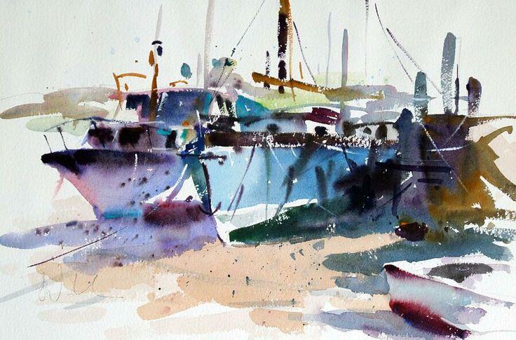 At Walton on the Naze watercolour, 13 X 18, Jake Winkle