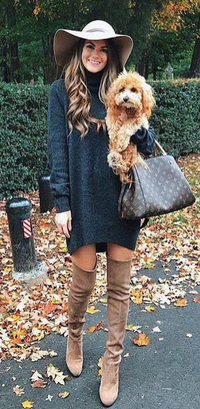 #fall #outfits  women's gray sunhat; black turtle neck sweatshirt; brown knee-high boots outfit