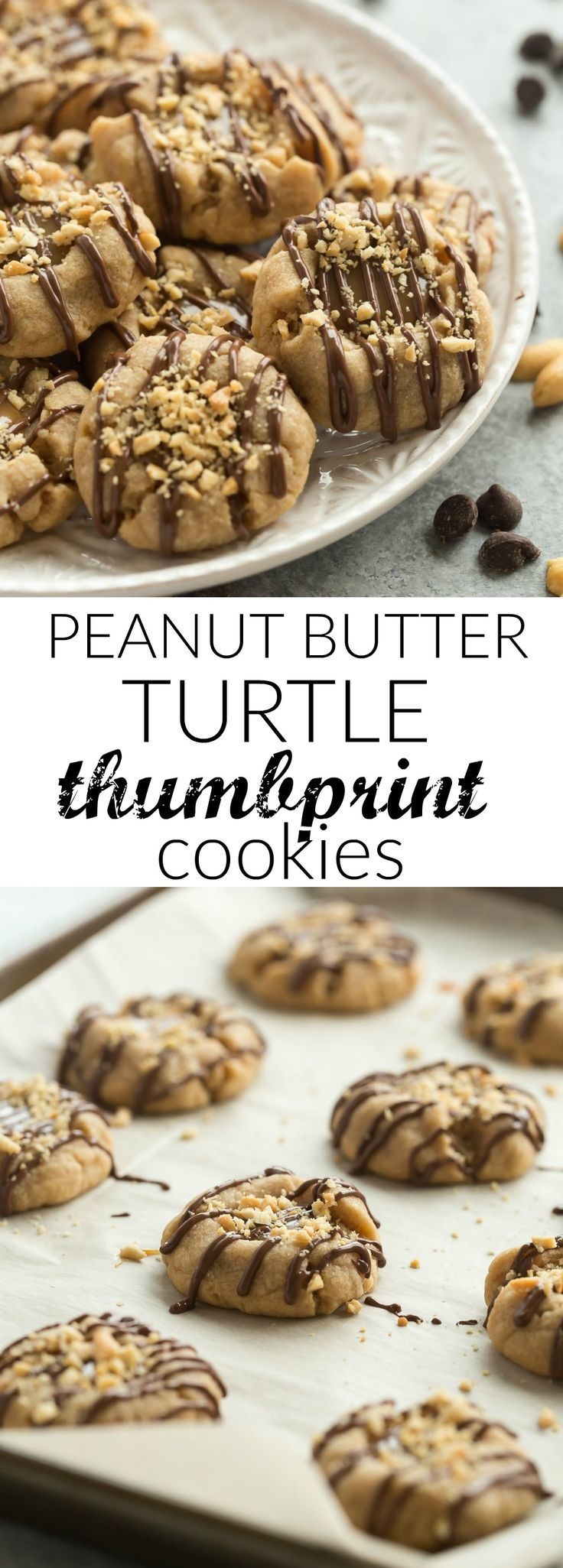 These Peanut Butter Turtle Thumbprint Cookies are a new twist on a classic Christmas cookie -- with a peanut butter cookie base, a simple caramel filling, a drizzle of chocolate and a sprinkling of peanuts, they're sure to be a new holiday tradition! Plus a recipe video.