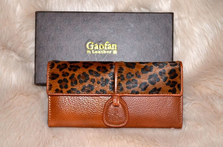 STOCK CLEARANCE SALE! -- $58.00 + postage Leopard Genuine Leather Wallet