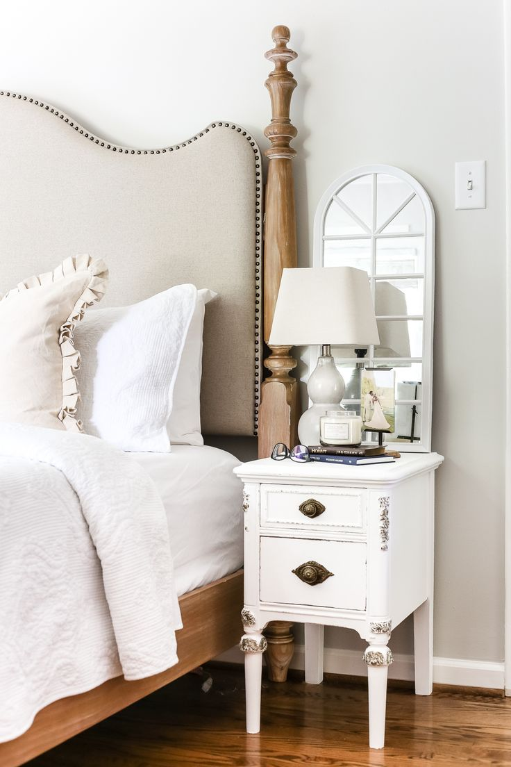 Faux Gilded Nightstands | blesserhouse.com - A pair of old, broken wooden nightstands gets a bright white, French-inspired facelift with a faux gilded bronze finish.