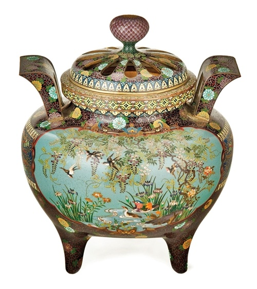"""""""A Very fine Japanese Cloisonne Koro and Pierced Cover"""" by Unknown (Lot Number 160) 