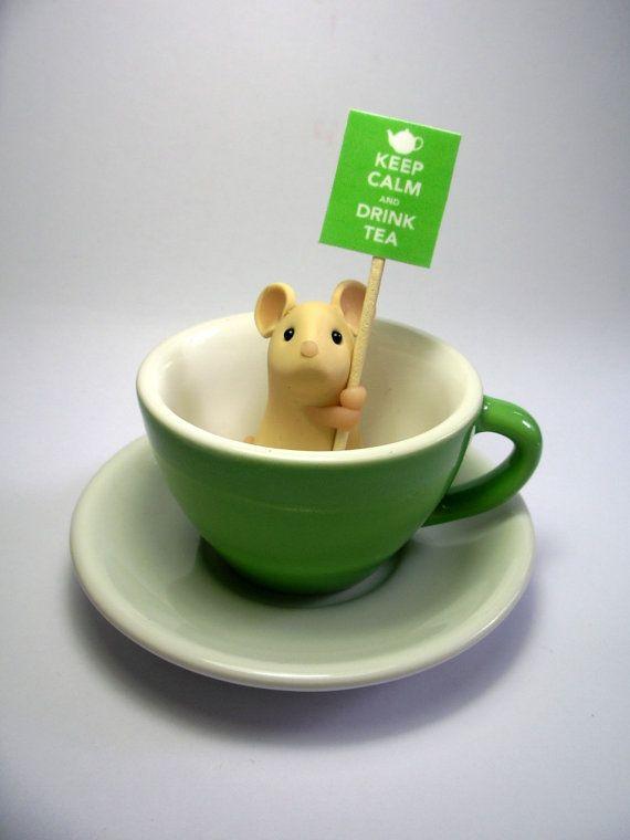 Tasse à thé vert souris - « Gardez votre calme et boire du thé »