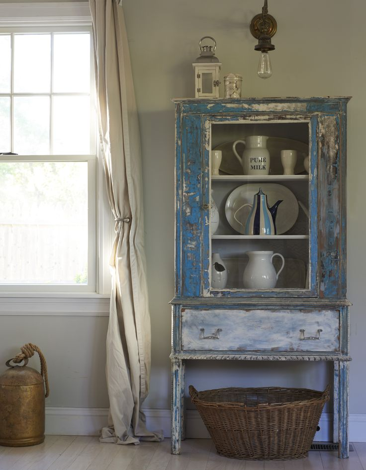 I love this distressed blue wash dresser from my new book Dream Decor, it looks perfect in this corner and adds so much charm. Paired with an industrial light fitting it looks great!