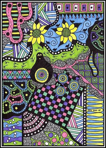 Doodle_Jan2010_#2 by Christie1981, via Flickr: Diseños Coloridos, Zendoodles, Zentangles Colors, Colors Tangled, Zentangle Colorido, Christie198 Colors, Photo, Zentangle Colors