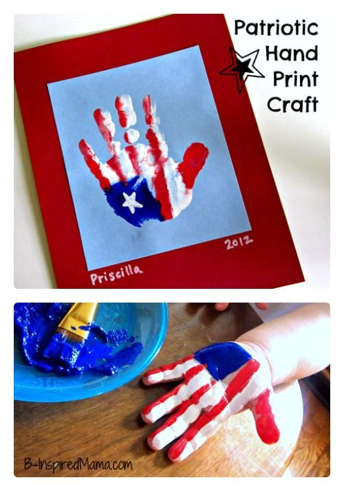 A Cute Kids Patriotic Hand Print Flag Craft - Perfect for Memorial Day, 4th of July, or Veterans Day - at B-Inspired Mama