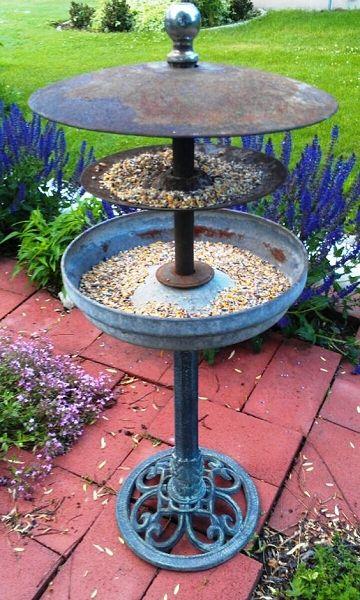DIY garden art upcycled bird feeder artful garden Dishfunctional Designs: The Upcycled Garden Volume 7: Using Recycled Salvaged Materials In Your Garden