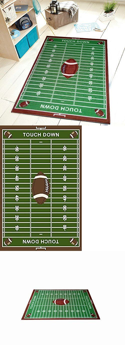 Kids Rugs: Football Field Ground Kids Football Rectangle Area Rug Size 45X69 BUY IT NOW ONLY: $59.99