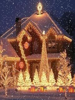Moving Snowing Christmas Scene photo - Snowing Christmas Scene Gif -  Beautiful Christmas lights with falling snow.