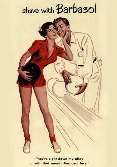 Barbasol Shaving Cream Pin-Up Girl Bowling 1949