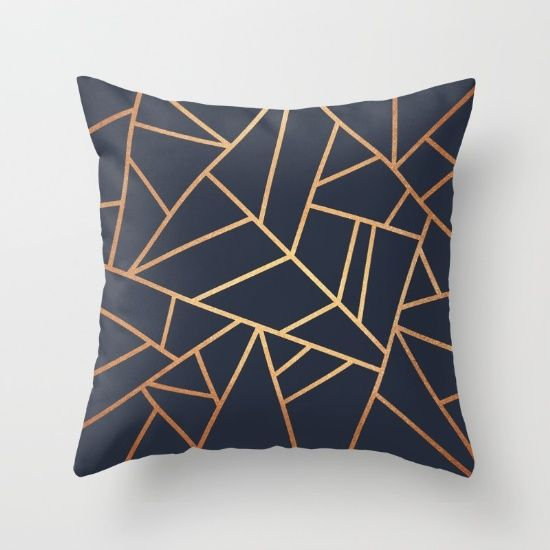 Copper and Midnight Navy Throw Pillow                                                                                                                                                                                 More