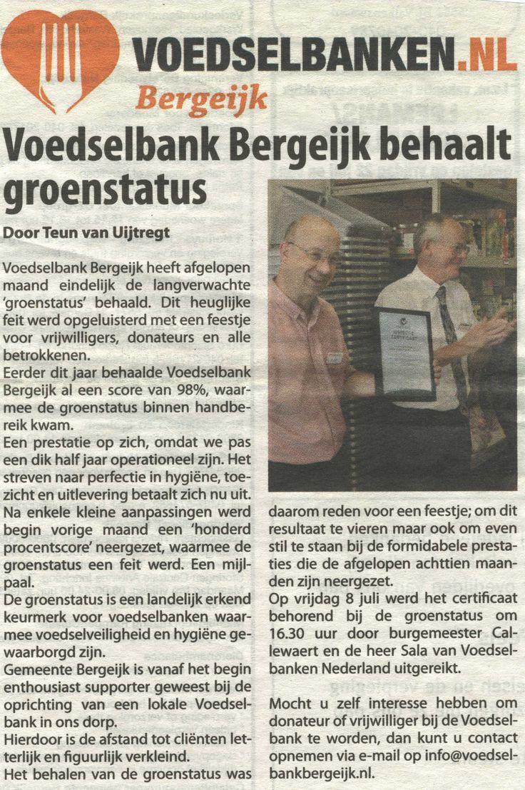 publicatie Eyckelbergh over uitreiking behaalde certificaat voedselveiligheid voor #voedselbank #Bergeijk