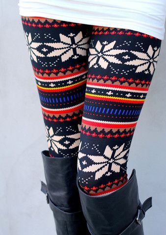 nordic leggings and over the knee boots - looks so lovely