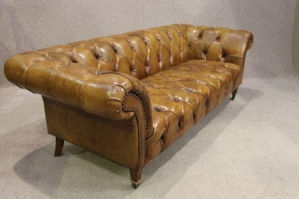 my #chesterfield of the week is this #stunning early 20th Century piece in a lovely hand dyed tan leather #furniture