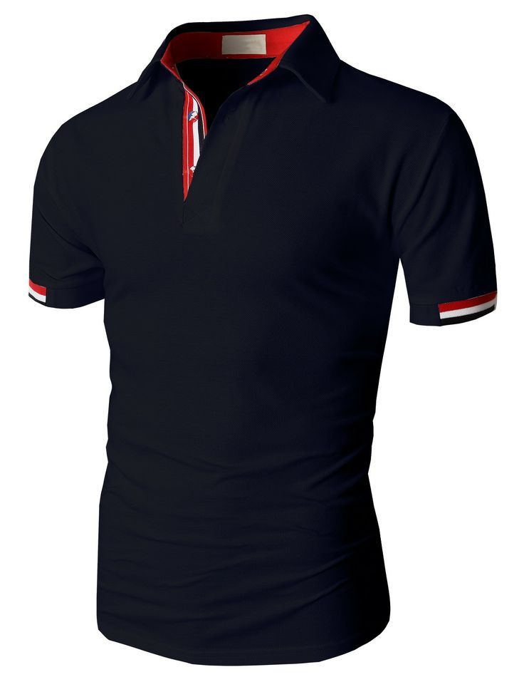 Doublju Fashion Pique Cotton Polo Shirts with Short Sleeve (KMTTS0115) #doublju