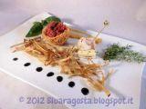 Tartare al tartufo in nidi di pasta kataifi con taleggio marinato
