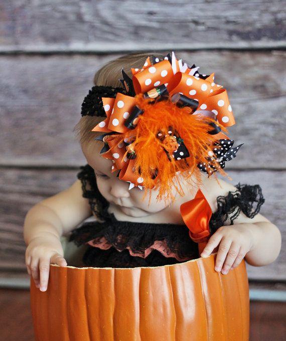 Pumpkin Hair Bow-Over the Top Bow-Halloween Bow-Black Orange Hair Bow-Big Bows-Infant Bows on Etsy, $15.99