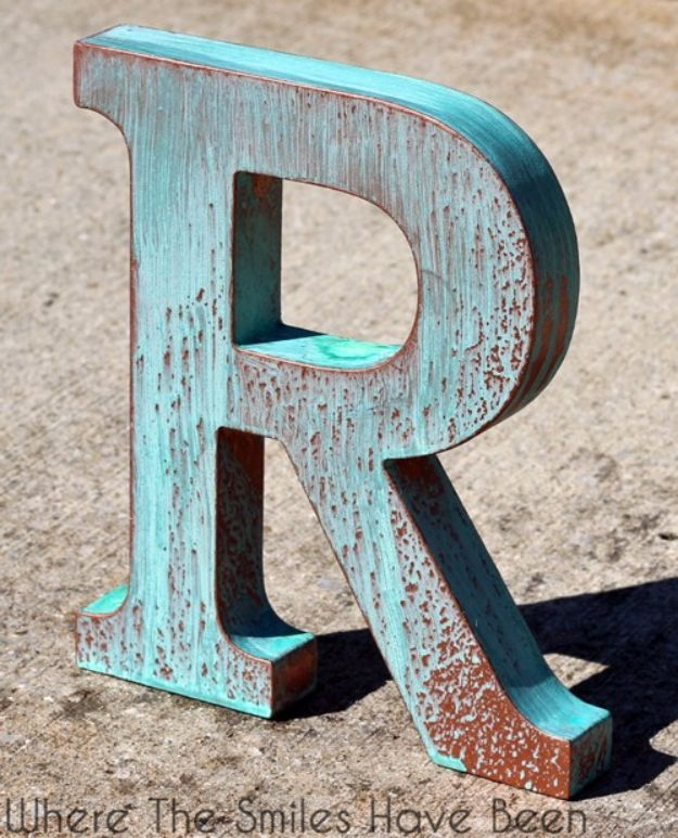 DIY Wall Letters and Initals Wall Art - DIY Faux Copper Letter Aged With Blue Patina - Cool Architectural Letter Projects for Living Room Decor, Bedroom Ideas. Girl or Boy Nursery. Paint, Glitter, String Art, Easy Cardboard and Rustic Wooden Ideas http://diyprojectsforteens.com/diy-projects-with-letters-wall