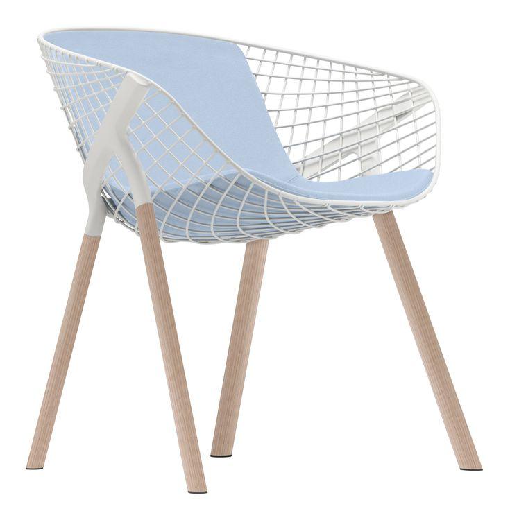 Fauteuil Kobi Wood / Métal & pieds bois - Grand coussin Blanc / Pieds chêne - Grand coussin bleu ciel - Alias - Décoration et mobilier design avec Made in Design