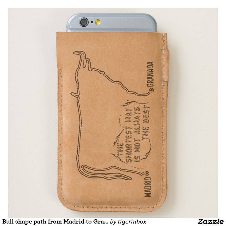 iPhone 7 and iPhone 6/6s leather case with cow illistration. The route that joins two towns  (Madrid to Granada -custom cities) draws the silhouette of a bull.
