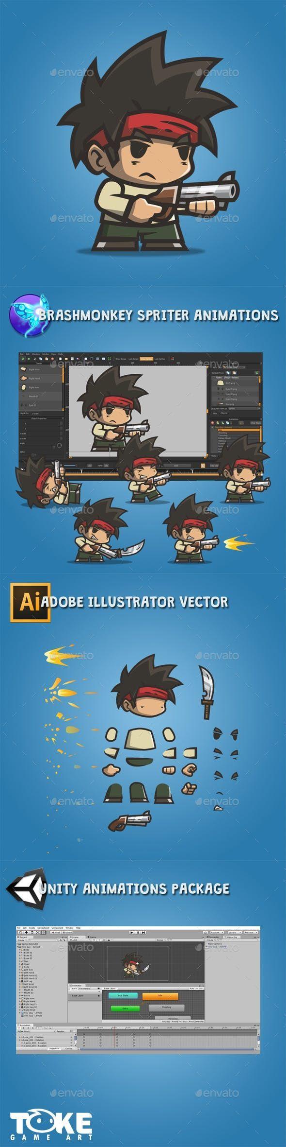 Little Man Arnold — Stock Vector #spriter #game art 2d-Game Assets-   – Game Art