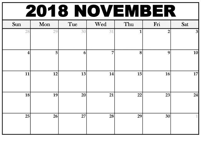 Editable November 2018 Calendar Blank Templates November 2018