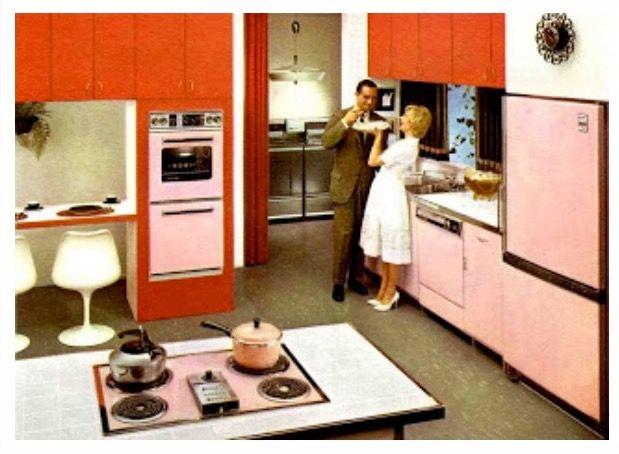 Midcentury Moderne Küche, Bad Aus Der Mitte Des Jahrhunderts, Retroküchen, Moderne  Küchen, Grau Küchen, Vintage Küchen, 1960er Küche, Orange Küche, ...