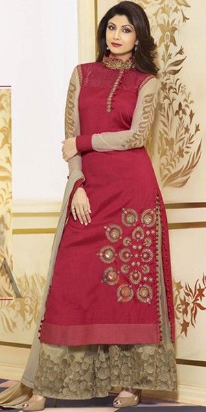 Shilpa Shetty Red Georgette Designer Straight Salwar Suit With Plazzo Pant And Chiffon Dupatta.