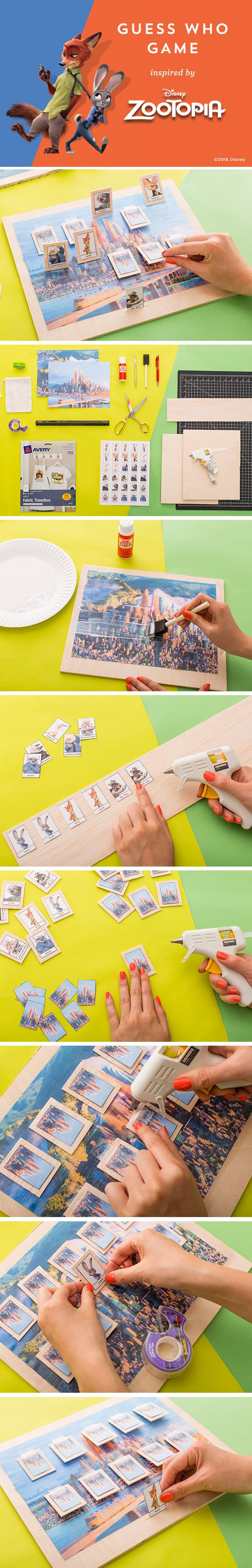 "Remember that epic game ""Guess Who?"" It turns out that it's super simple to DIY! Make a Zooptopia version with this tutorial. #partner"
