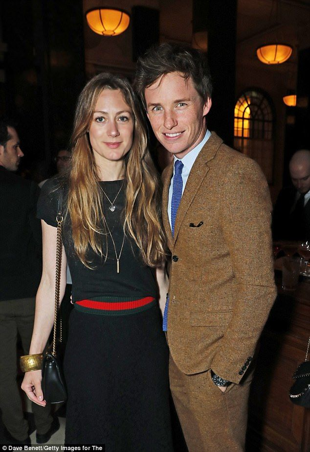 All smiles: Eddie Redmayne and his wife Hannah Bagshawe were among the list of star-studded guests at the launch