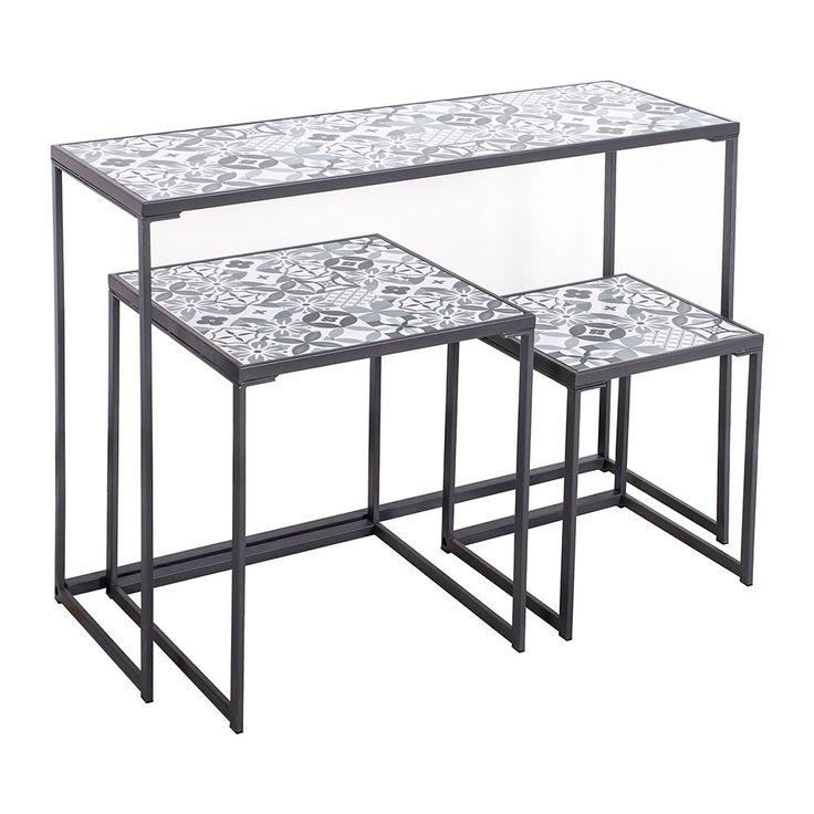 tables et console gigognes carreaux de ciment bleus midica tendance carreaux de ciment. Black Bedroom Furniture Sets. Home Design Ideas