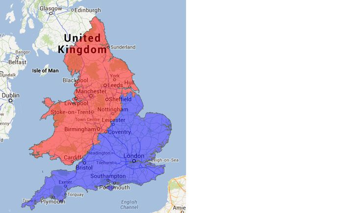 """England's cultural north-south divide (no defined """"border"""" officially exists), according to a study by the University of Sheffield"""