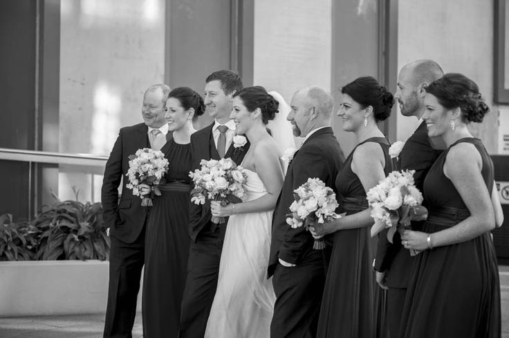 Great B&W shot of Claire, Curtis and their wedding party.  Photographed by Marc Grist Photography #wedding #weddingphotography #weddingparty #groupshot #marcgristphotography.