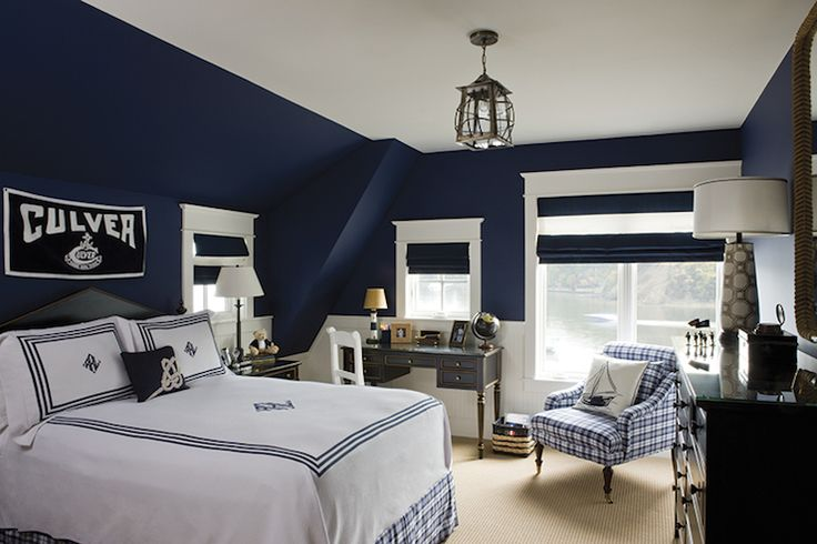 Navy Walls Amp Navy Amp White Roman Shades Bedrooms