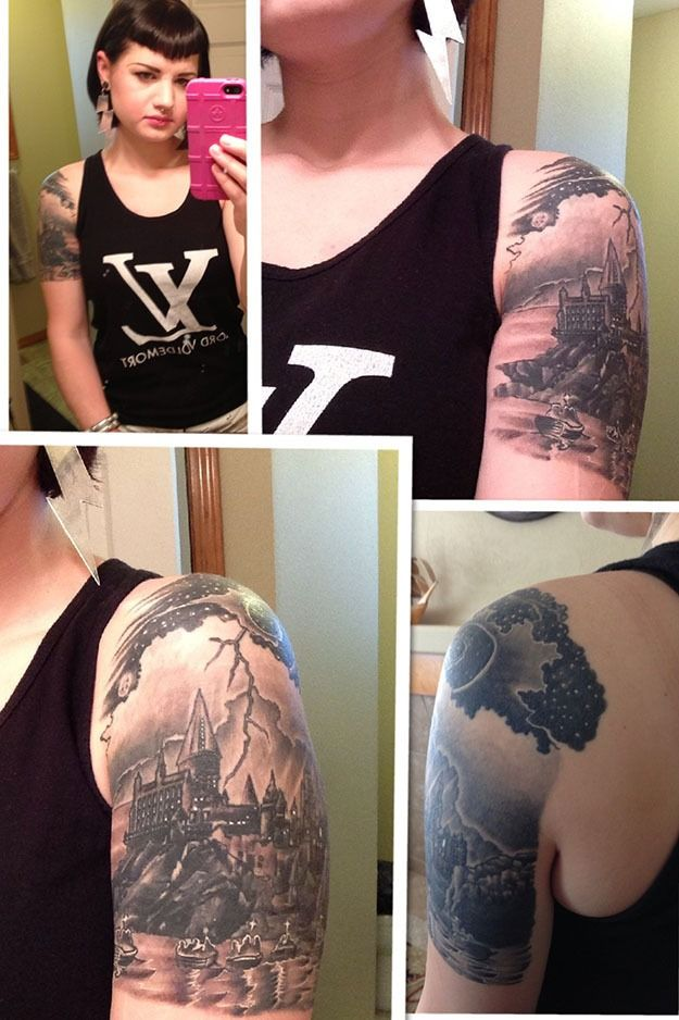 A collection of unusual and creative Harry Potter-themed tattoos.