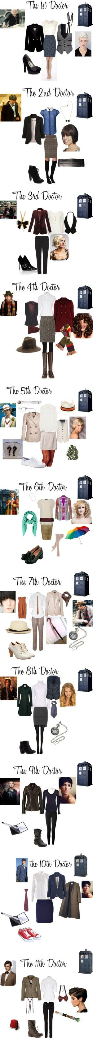All the Doctors on Polyvore. If you need ideas on how to dress like The Doctor, this looks like a great place to start!