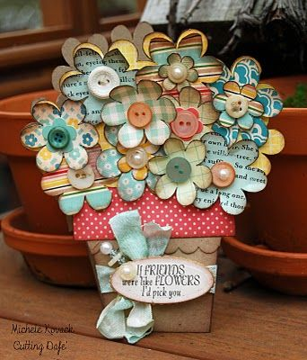 Wow, I love this! use Grace Taylor vintage die cuts for the flowers, or one of our Couture Creations nested die if you have a cuttlebug.  #mothersday card