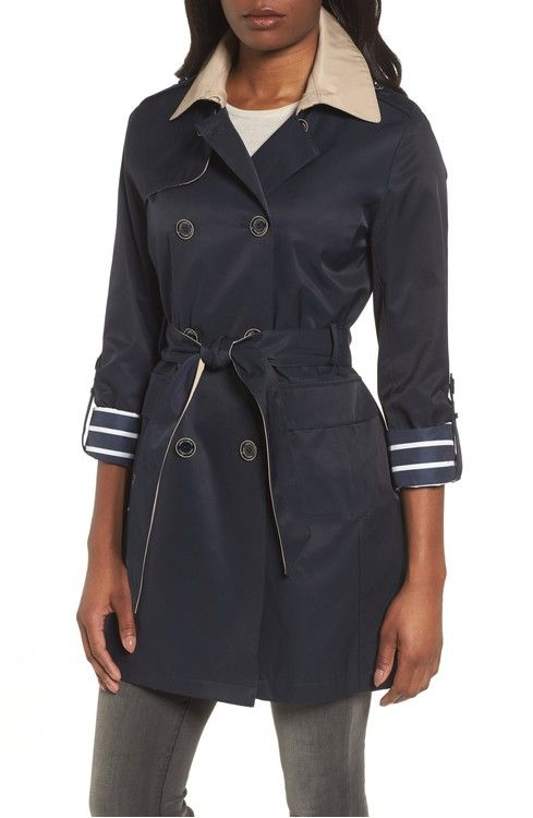 Main Image - Vince Camuto Contrast Collar Trench Coat