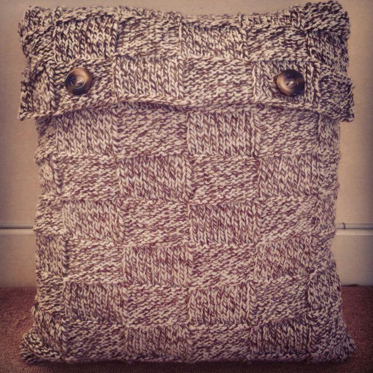 Tweed hand knitted cushion