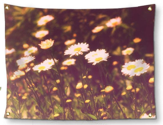 Boho Wall Decor-Rustic Tapestry-Daisy Wall by NaturalLightStudio