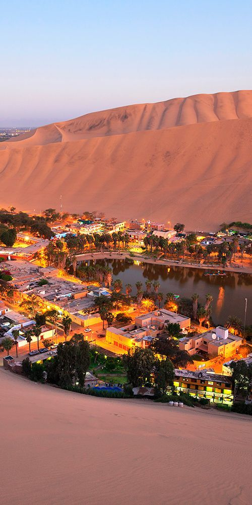 Huacachina in southwestern Peru is built around a small natural lake in the desert #southamerica #Peru