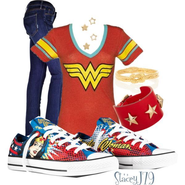 Converse Contest - Wonder Woman by staceyj79 on Polyvore featuring Mother, Givenchy, Alex Monroe, Gorjana and Converse