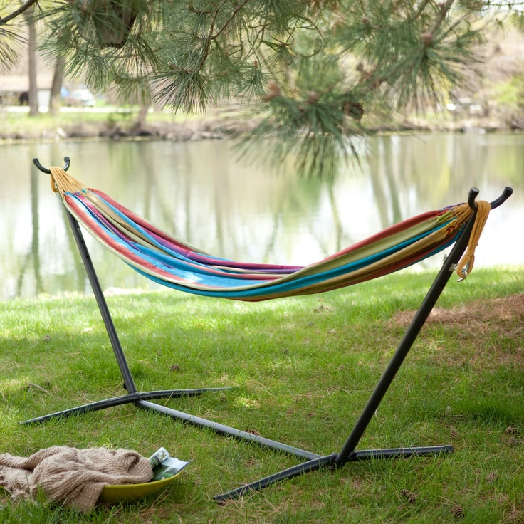 Vivere Siesta Fabric Double Hammock with Steel Stand Set. I'm pinning it to brag that I already own it.