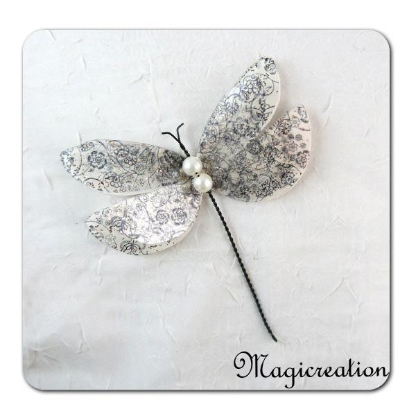 libellule GM décorative 3D blanc et noir
