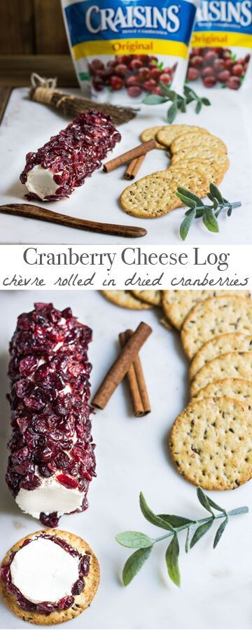 An irresistible cheese log made with Craisins® Dried Cranberries. Served with crackers, it's the perfect food to entertain guests with this fall. Recipe via http://MonPetitFour.com #BetterWithCraisins #ad