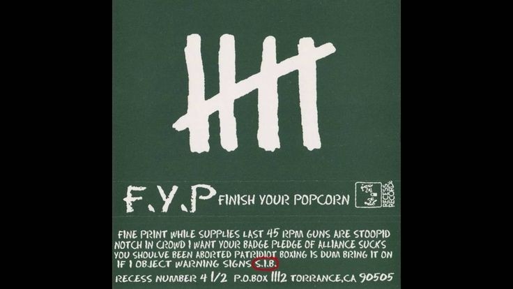 F.Y.P. - finish your popcorn - BRAND NEW CASSETTE TAPE fyp
