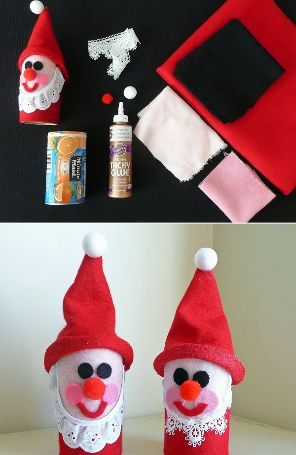 DIY Santa Claus out of Toilet Roll