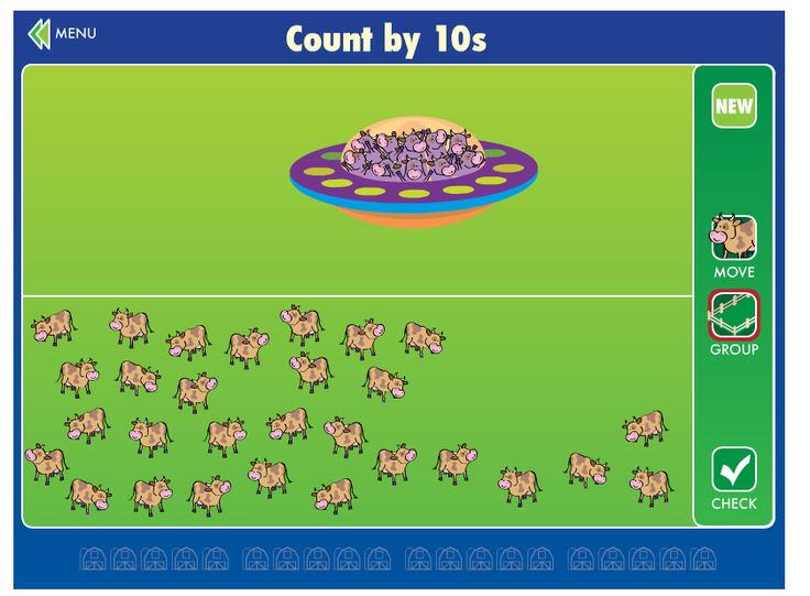 Grouping & Grazing: Help the alien spaceship move cows into corrals by counting, adding, and subtracting. This activity helps children learn grouping, tally marks, and place value. As they master counting, they can move on to adding and subtracting two-digit numbers.