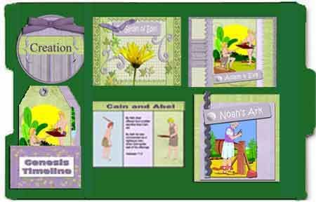 Bible lapbook.Genesis 1-11 Free printable booklets from coordinating scrapbook papers