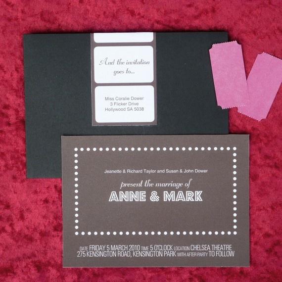 Flick wedding invitation